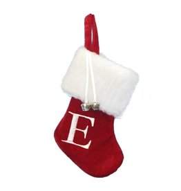 Kurt Adler Mini Red Monogrammed Christmas Stocking w Initial Letter E