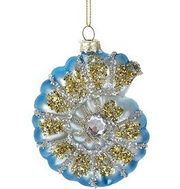 Kurt Adler Glitter w Gems Shell Ornament 3 inch - Blue Nautilus