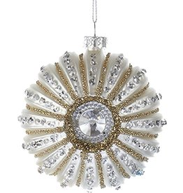 Kurt Adler Glitter w Gems Shell Ornament 3 inch - White Sea Urchin