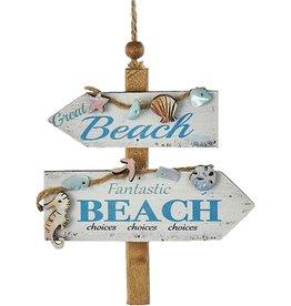 Kurt Adler Wooden Beach Sign Ornament w Great Fantastic Beach Choices