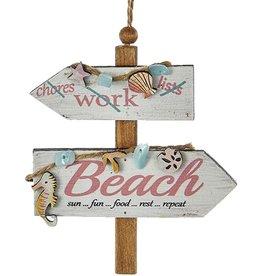 Kurt Adler Wooden Beach Sign Ornament w Chores Work Beach Sun