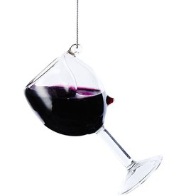 Kurt Adler Glass Wine Glass Ornament D2991-RE Red Wine 4 inch