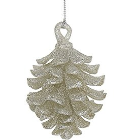 Kurt Adler Glittered Acrylic Pinecone Christmas Tree Ornament Silver