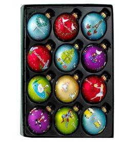 Kurt Adler 12 Days of Christmas Ornaments Glass Ball Set of 12 GG0586