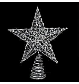 Kurt Adler Christmas Tree Topper Silver Glittered Wire Star Topper