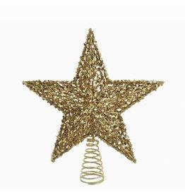 Kurt Adler Christmas Tree Topper Gold Glitter Star Tree Topper 13 inch