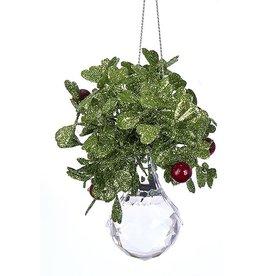 Kurt Adler Mistletoe Ball Ornament w Acrylic Crystal Tear Drop 3.5in
