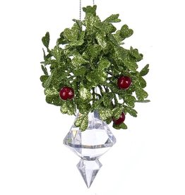 Kurt Adler Mistletoe Ball Ornament w Acrylic Crystal Finial 4.75 inch
