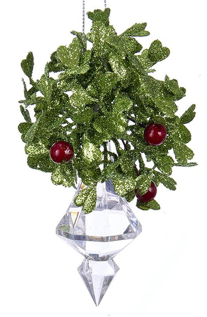 Mistletoe Ball Decoration Delectable Kurt Adler Mistletoe Ball Ornament W Acrylic Crystal Finial 475 Inspiration