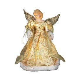 Kurt Adler Christmas Angel Tree Topper 10 Light Gold 14 inch UL1979
