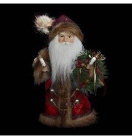 Kurt Adler Christmas Burgundy and Brown Santa Tree Topper UL1090 10in
