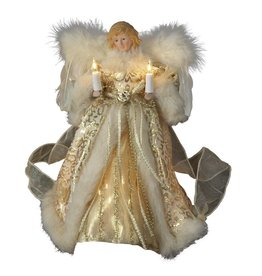 Kurt Adler Christmas Angel Tree Topper 10 Light Ivory and Gold 10 inch