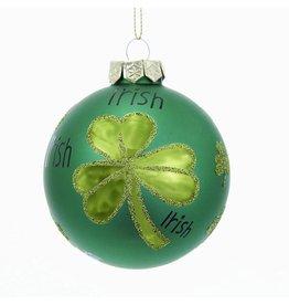 Kurt Adler Irish w Shamrock Glass Ball Ornament 80MM