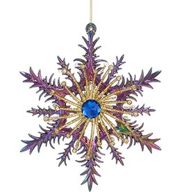Kurt Adler Acrylic Peacock Color Snowflake Ornament 5.5 inch -B