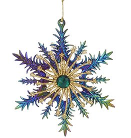 Kurt Adler Acrylic Peacock Color Snowflake Ornament 5.5 inch -A