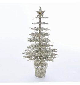 Kurt Adler Vintage Glamour Glitter Christmas Tree Table Piece 13.5 inch
