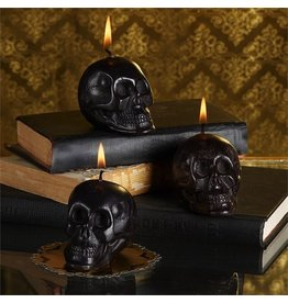 Twos Company Halloween Triple Threat Black Skull Candles Set of 3