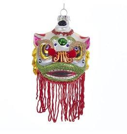 Kurt Adler Chinese Lion Mask Glass Christmas Ornament 3.25 inch