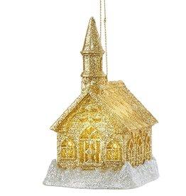 Kurt Adler Gold Glittered LED Light Up Church Ornament 4 inch -B