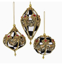 Kurt Adler Black White Checkered w Gold Beaded Accents Ornaments Set 3