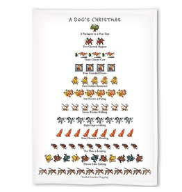 Peking Handicraft A Dogs 12 Days of Christmas Towel Kitchen Tea