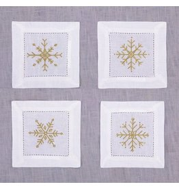Peking Handicraft Christmas Linen Cocktail Napkins Snowflakes Set of 8