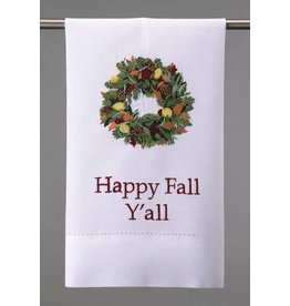 Peking Handicraft Thanksgiving Towel Fall Wreath Happy Fall Yall 14x22