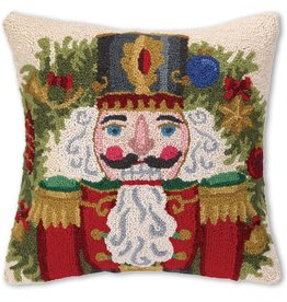 Peking Handicraft Christmas Needlepoint Pillow 18sq Nutcracker in Red