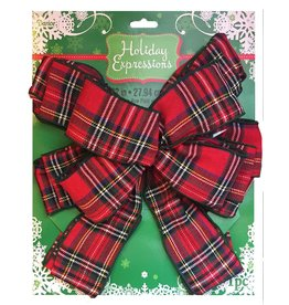 Darice Christmas Tree Topper Plaid Bow 11x22 inch