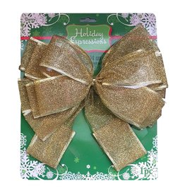 Darice Christmas Gold Mesh Bow - Tree Topper 11x22 inch