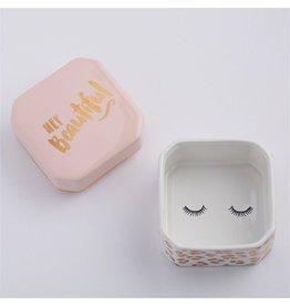 Twos Company Porcelain Trinket Box w Hey Beautiful