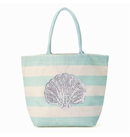 Twos Company Jute Tote Bag with Sea Life Sequin Shell 51491-20-B