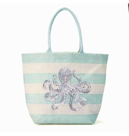 Twos Company Jute Tote Bag with Sea Life Sequin Octopus 51491-20-A