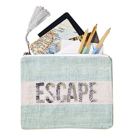 Twos Company Jute Seaside Pouch with Sequin Text Escape 51510-E