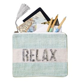 Twos Company Jute Seaside Pouch with Sequin Text Relax 51510-R