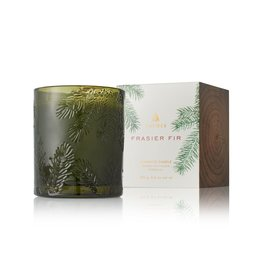 Thymes Frasier Fir Poured Candle 6.5oz Molded Green Glass Pine Design