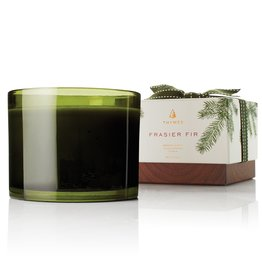 Thymes Frasier Fir 3 Wick Poured Candle 17oz Green Glass