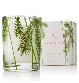Thymes Frasier Fir Votive Candle 2oz Glass Votive w Pine Needle Design
