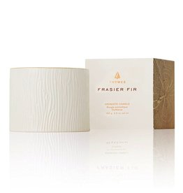 Thymes Frasier Fir Candle in Ceramic Wood Grain Textured Votive 6oz