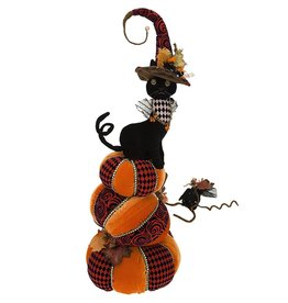 Mark Roberts Fairies Halloween Pretty Black Cat on Pumpkin 29 inch