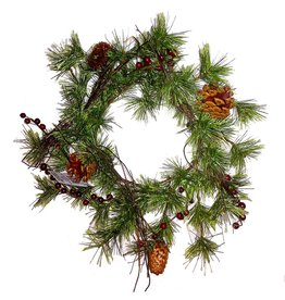 Darice Christmas Candle Ring - Mini Wreath Pine w Red Berries 6 inch