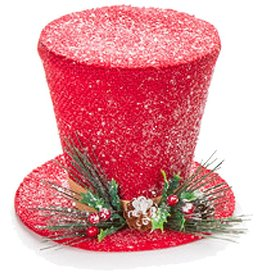 Darice Christmas Snowman Top Hat Table Decoration 7 inch Red
