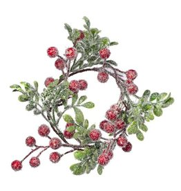 Darice Christmas Candle Ring-Mini Wreath w Frosted Red Berries Leaves