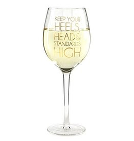 Twos Company Go Glam Wine Glass 14.5oz-Keep Your Standards High