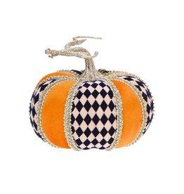 Mark Roberts Fall Decor Fashion Pumpkin w Harlequin Short 6Hx7D Inches