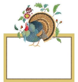 Caspari Place Cards Tent Style 8pk 87922P Thanksgiving Turkey