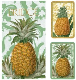 Caspari Bridge Gift Set w 2 Card Decks 2 Score Pads Royal Pineapple GS114