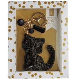 Twos Company Cat Rhinestone Key Chain BLACK Cat