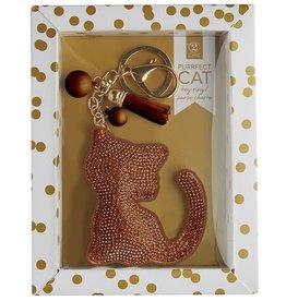 Twos Company Cat Rhinestone Key Chain Rose Gold-Copper Cat