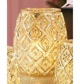 Twos Company Gold Mercury Glass Votive Tealight Candle Holder -C